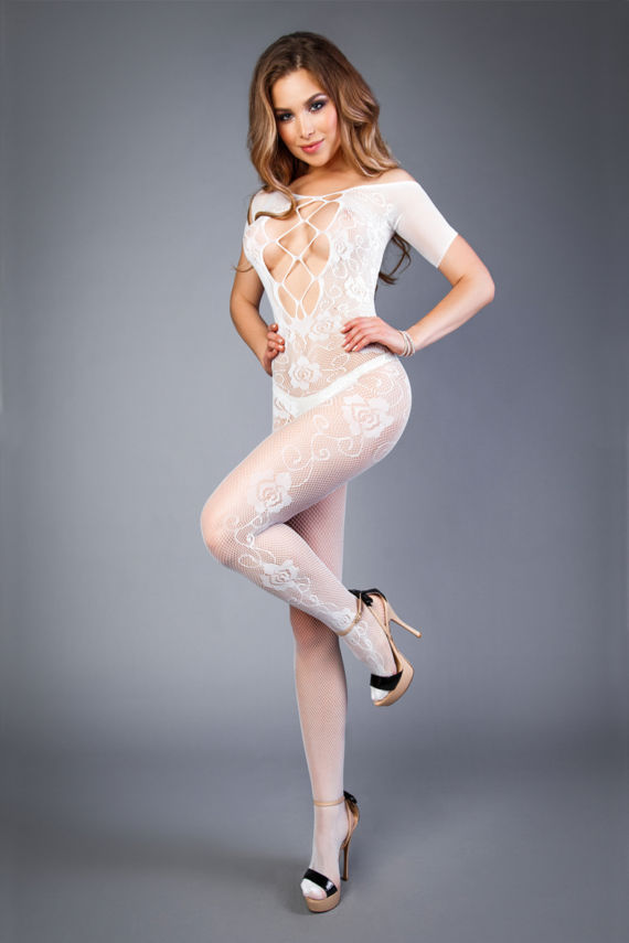 Open Catsuit Met Visnet Decollete Wit